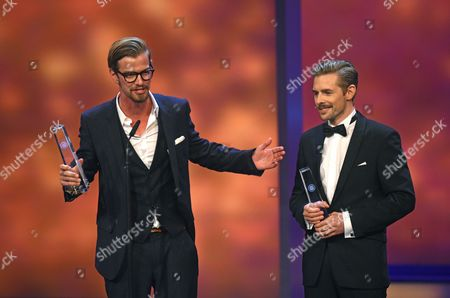 German Tv Hosts Joko Winterscheidt (l) and Klaas Heufer-umlauf (r) Thank the Audience After Being Awarded with the Prize For 'Best Show Hosts' During the German Televisionáaward Ceremony in Cologne Germany 02 October 2014 Germany Cologne