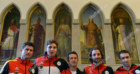 German Davis Cup Team with Team Captain Michael Kohlmann (l-r) Jan-lennard Struff Philipp Kohlschreiber Andre Begemann Und Benjamin Becker Standing in Front of Pictures of German Emperors in the Emperors Hall of the Frankfurt City Hall Roemer in Frankfurt Main Germany 05 March 2015 Germany Play France in the First Round of the Davis Cup World Group in the Frankfurt Fraport Arena From 6-8 March 2015 Germany Frankfurt/main