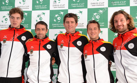 The German Davis Cup Team with Jan-lennard Struff (l-r) Benjamin Becker Manager Michael Kohlmann Philipp Kohlschreiber and Andre Begemann Poses After a Press Conference in the Fraport Arena in Frankfurt a M Germany 3 February 2015 the German Team Will Face France in the First Round Germany Frankfurt/main