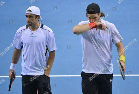 Stock Image of Andre Begemann (r) and Benjamin Becker of Germany React During the Doubles Against Julien Benneteau and Nicolas Mahut of France at the Tennis Davis Cup at Fraport Arena in Frankfurt/main Germany 07 March 2015 Germany Frankfurt/main