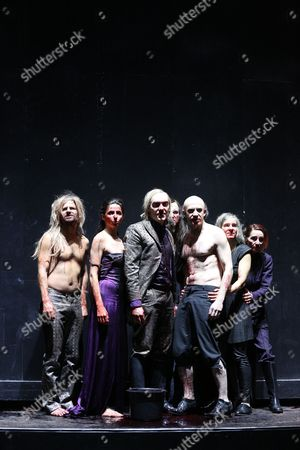 (l-r) Actors Philipp Hochmair Marina Galic Rafael Stachowiak Andre Symanski Thomas Niehaus Catherine Seifert and Barbara Nuesse Perform on Stage During Rehearsals For 'Der Ring: Siegfried/goetterdaemmerung' (lit : the Ring: Siegfried/twilight of the Gods) at the Thalia Theater in Hamburg ágermany 15 January 2015 the Play Premieres on 17 January Germany Hamburg