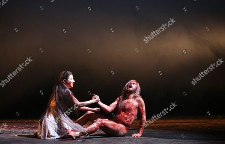 Actors Philipp Hochmair (r) Und Marina Galic Perform on Stage During Rehearsals For 'Der Ring: Siegfried/goetterdaemmerung' (lit : the Ring: Siegfried/twilight of the Gods) at the Thalia Theater in Hamburg ágermany 15 January 2015 the Play Premieres on 17 January Germany Hamburg