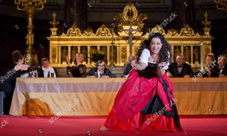 Actress Barbara Wussow As Buhlschaft Performs During the Press Rehearsal For the 28th Berlin Jedermann Festival in the Berlin Cathedral Berlin ágermany 14 October 2014 the Festival Runs From 16 to 26 October á Germany Berlin