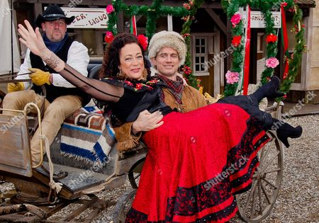 German Actor Ralf Bauer (r) As Trapper Old Firehand and German Actress Barbara Wussow (c) As Senorita Miranda Pose During a Photocall For the Karl May Festival in Bad Segeberg Germany 17 February 2015 on 27 June 2015 the Festival Begins with the Premiere of the Adventure 'In the Valley of Death' (im Tal Des Todes) in Its 64th Season Germany Bad Segeberg