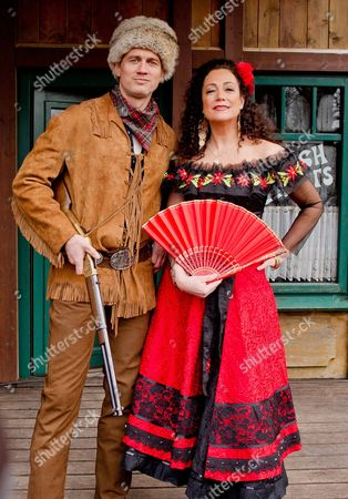 German Actor Ralf Bauer As Trapper Old Firehand and German Actress Barbara Wussow (r) As Senorita Miranda Pose During a Photocall For the Karl May Festival in Bad Segeberg Germany 17 February 2015 on 27 June 2015 the Festival Begins with the Premiere of the Adventure 'In the Valley of Death' (im Tal Des Todes) in Its 64th Season Germany Bad Segeberg