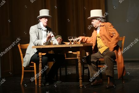 Matthias Doepfner (l) Ceoáof Media Corporation Axel Springer Se As Baennelbaecher and Helmut Markwort (r) Former Editor-in-chief of German Weekly Newsmagazine Focus As Datterich Rehearse a Scene of 'The Datterich' at the State Theatre in Darmstadt Germany 10 June 2015 the 11-day Datterich Festival Will Kick Off on the Evening of 10 June with the Local Play Datterich Which Will See German Media Heavyweights Performing on Stage in Local South-hessian Dialect Germany Darmstadt