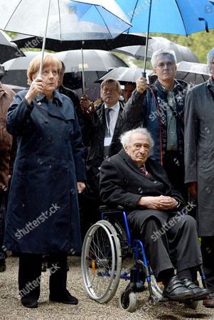 German Chancellor Angela Merkel (c-l) and Holocaust Survivor Max Mannheimer (c-r) Attend the Commemoration Event Marking the 70th Anniversary of the Liberation of Dachau Concentration Camp by Allied Forces at the Former Camp in Dachau Germany 03 May 2015 More Than 200 000 People From Across Europe Were Interned Under Dire Conditions at Dachau the First Nazi Concentration Camp Established and Its Numerous Sub-camps Between 1933 and 1945 Germany Dachau