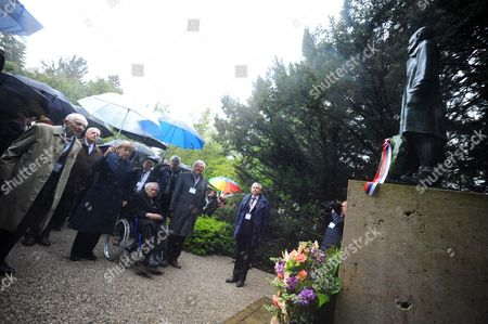 German Chancellor Angela Merkel (3-l) and Holocaust Survivor Max Mannheimer (3-r) Attend a Wreath Laying Ceremony at the Memorial to the Unknown Prisoner During the Commemoration Event Marking the 70th Anniversary of the Liberation of Dachau Concentration Camp by Allied Forces at the Former Camp in Dachau Germany 03 May 2015 More Than 200 000 People From Across Europe Were Interned Under Dire Conditions at Dachau the First Nazi Concentration Camp Established and Its Numerous Sub-camps Between 1933 and 1945 Germany Dachau
