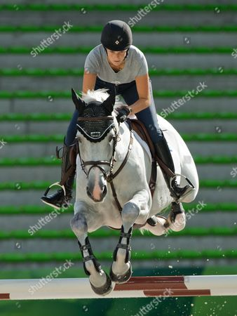 Athina Onassis De Miranda of Greece on Horse 'Ad Camille Z' During a Training Session For the Speed Jumping Competition During the World Equestrian Games 2014 in Caen France 01 September 2014 France Caen