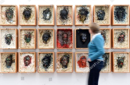 A Visitor Walks by the Work 'Kistenwalhalla' From 1980/88 by Austrian Artist Arnulf Rainer at the Museum Frieder Burda in Baden-baden Germany 25 February 2015 the Retrospective 'Arnulf Rainer' Opens to the Public From 28 February to 03 May Germany Baden-baden