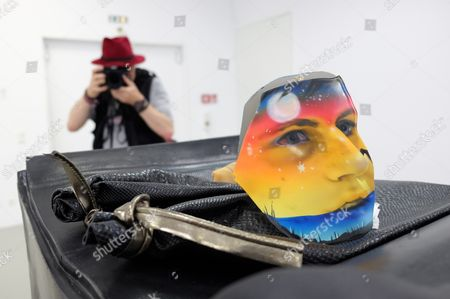 A Man Photographs the Artwork 'Mr Allied' by British Artist Helen Marten Displayed at the Exhibition Hall Kunsthalle Fridericianum in Kassel Germany 05 September 2014 the Exhibition 'Parrot Problems' with Works by Helen Marten Will Open on 06 September 2014 Germany Kassel