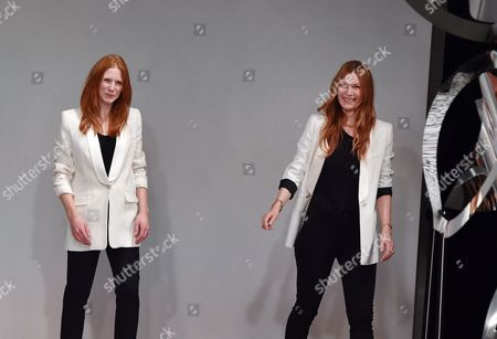German Designers Johanna Kuehl (l) and Alexandra Fischer-roehler (r) Acknowledge the Public at the Offsite Show of Fashion Label Kaviar Gauche in Palazzo Italia During the Mercedes-benz Fashion Week in Berlin Germany 21 January 2015 the Fall/winter 2015 Collections Are Presented From 19 to 23 January Germany Berlin