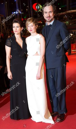 Stock Photo of (l-r) Albanian-belgian Actress Flonja Kodheli Italian Actress Alba Rohrwacher and German Actor Lars Eidinger Arrive For the Premiere of 'Vergine Giurata' (sworn Virgin) at the 65th Annual Berlin International Film Festival in Berlin Germany 12 February 2015 the Movie is Presented in the Official Competition of the Berlinale Which Runs From 05 to 15 February Germany Berlin