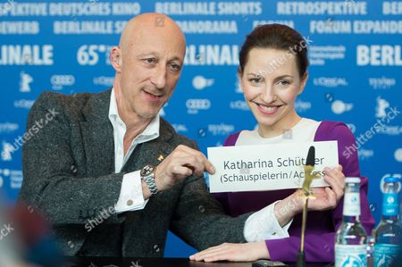 German Director Oliver Hirschbiegel and Actress Katharina Schuettler (r) Attend a Press Conference For '13 Minutes' (elser) During the 65th Annual Berlin Film Festival in Berlin Germany 12 February 2015 the Movie is Presented in the Official Competition of the Berlinale Which Runs From 05 to 15 February 2015 Germany Berlin