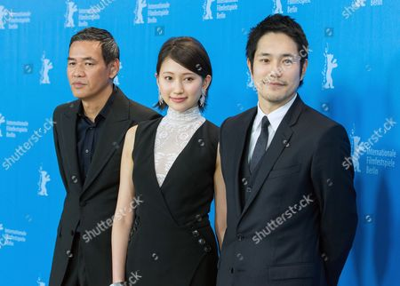 Stock Image of From (l-r) Japanese Director Hiroyuki Tanaka Aka Sabu Actors Ito Ohno and Kenichi Matsuyama Pose During the Photocall For 'Chasuke's Journey' (ten No Chasuke) at the 65th Annual Berlin Film Festival in Berlin Germany 13 February 2015 the Movie is Presented in the Official Competition of the Berlinale Which Runs From 05 to 15 February Germany Berlin