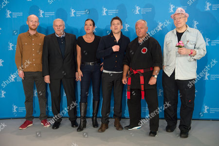 From (l-r) German Co-writers Nicolas Woche and Juergen Lemke Actors Katy Karrenbauer and Hanno Koffler Author and Martial Artist Andreas Marquardt and Director Rosa Von Praunheim and Actor Pose During the Photocall For 'Tough Love' at the 65th Annual Berlin Film Festival in Berlin Germany 06 February 2015 the Movie is Presented in the 'Panorama Special' Section of the Festival Which Runs From 05 to 15 February 2015 Germany Berlin