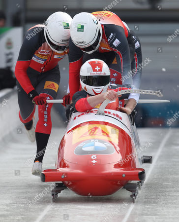 Bobsleigh Pilot Rico Peter and His Pushers Thomas Amrhein Janne Bror Van Der Zijde and Simon Friedli of Switzerland in Action During the Men's Race in the Bobsleigh and Skeleton World Championships 2015 in Winterberg Germany 07 March 2015 Germany Winterbereg
