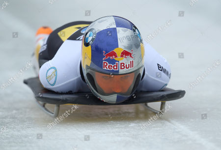 Stock Picture of Skeleton Racer Anja Huber Selbach of Germany in Action During the Women's Skeleton Competition at the Bob & Skeleton World Championships 2015 Ináwinterberg Germany 06 March 2015 Germany Winterberg