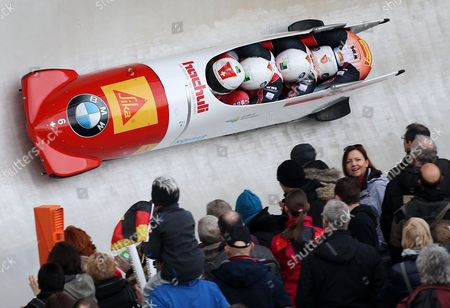 Bob Pilot Rico Peter with His Pushers Thomas Amrhein Janne Bror Van Der Zijde and Simon Friedli From Switzerland in Action During Their 3rd Run of the 4 Men Bobsleigh Event at the Bob and Skeleton World Championships in Winterberg Germany 08 March 2015 Germany Winterbereg