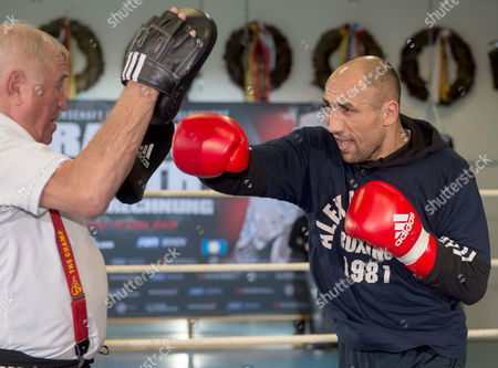 Wbo Super Middleweight Champion Arthur Abraham with His Coach Ulli Wegner (l) in Berlin Germany 17 February 2015 Arthur Abraham Faces British Boxer Paul Smith in a Title Bout in Berlin on 21 February 2015 Germany Berlin