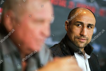 Wboásuper Middleweight Champion Arthur Abraham (r) of Germany and His Coach Ulli Wegner (l) Attend a Press Conference in Berlin Germany 18 February 2015 Abraham Will Face British Boxer Paul Smith in a Title Bout in Berlin on 21 February 2015 Germany Berlin
