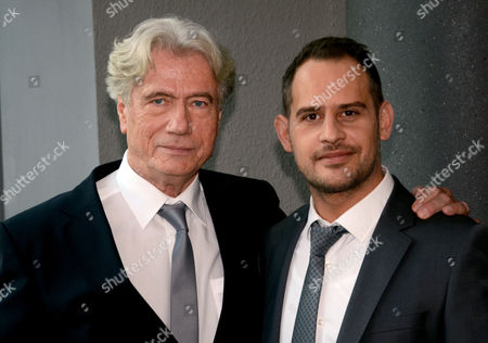 German Actors Juergen Prochnow (l) and Moritz Bleibtreu Pose During the Filming on the Movie 'The Dark Side of the Moon' in Cologne Germany 10 December 2014 the Movie Will Premiere in Autumn 2015 Germany Cologne