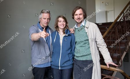 (l-r) German Director Chris Kraus French Actress Adele Haenel and German Actor Lars Eidinger Pose During the Shooting of 'Die Blumen Von Gestern' (yesterday's Flowers) in Berlin ágermany 03 June 2015 the Movie Which Features Eidinger in the Role of a Holocaust Researcher and Grandson of a Nazi War Criminal and Haenel As the Granddaughter of an Auschwitz Victim is Scheduled to Be Released in Cinemas in 2016 Germany Berlin