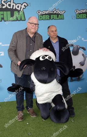 Stock Image of A Picture Made Available on 09 March 2015 Shows British Directors Richard Starzak (l) and Mark Burton Arriving For the Premiere of 'Shaun the Sheep' in Berlin Germany 08 March 2015 the Movie Will Be Premiered in German Cinemas on 19 March Germany Berlin