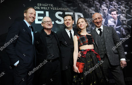 German Actors/cast Members Johann Von Buelow (l-r) Burghart Klaussner Christian Friedel Katharina Schuettler and Director Oliver Hirschbiegel Arrive For the Premiere of 'Elser' in Muncih Germany 23 March 2015 the Film is About the Life of Georg Elser a German Resistance Fighter who to Assassin Adolf Hitler in 1939 Germany Munich