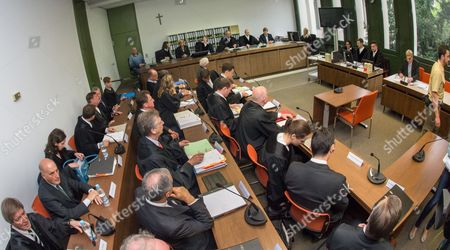 The Judges Attorneys and Defendants Including Juergen Fitschen Current Co-ceo Ofádeutsche Bank (2nd From Behind Left Row) Gather For the Opening of a Criminal Trial in the Courtroom of District Court Munich i in Munich ágermany 28 April 2015 Fitschen Along with Four Former Managers is Accused of Attempted Fraud During a Trial Related to the Bankruptcy of Deceased Media Entrepreneur Leo Kirch Germany Munich