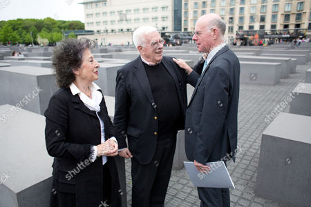 (l-r) German Journalist Lea Rosh Us Architect Peter Eisenman and the President of the Bundestag (lower House of the German Parliament) Norbert Lammert Stand at the Memorial to the Murdered Jews of Europe in Berlin ágermany 05 May 2015 the Memorial is Celebrating Its Ten-year Anniversary on 10 May Germany Berlin