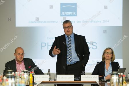 Stock Photo of Chief Financial Officer of Jenoptik Agáruediger Andreas Guenther (l) Chief Executive Michael Mertin (c) and Head of Corporate Communications Britta Maria Schell (r) Pictured at the Press Conference on Financial Results in Jena Germany 26 March 2015 Restrictions on Exports to Russia and Less Investment by the Automobile Industry Held Back the Technology Firm Jenoptik's Business in 2014 Germany Jena