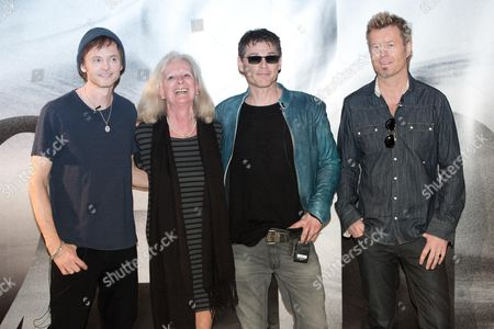 Norwegian Ambassador to Germany Elisabeth Walaas (2-l) Poses with Pal Waaktaar-savoy (l-r) Morten Harket and Magne Furuholmen of the Norwegian Pop Band A-ha in the Norwegian Embassy in Berlin Germany 25 March 2015 the Band Held a Press Conference Entitledá'a-ha Has Something to Say ' Germany Berlin