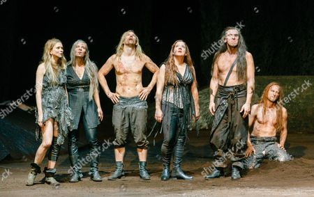 Actors (l-r) Lisa Hagemeister As Sieglinde Catherine Seifert As Kriemhild Daniel Lommatzsch As Siegmund Baerbel Schwarz As Fricke Alexander Simon As Wotan and Andre Szymanski As Alberich Rehearse the Opera 'The Ring: Rheingold/valkyrie' in Hamburg Germany 23 October 2014 the Opera by German Composer Richard Wagner (1813-1883) is Directed by German Antu Romero Nunes of Portuguese and Chilean Descent and Will Premiere on 25 October Germany Hamburg