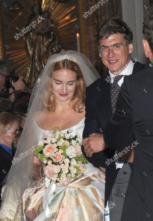 Princess Maria Theresia of Thurn and Taxis (l) and Her Husband Hugo Wilson Leave St Joseph's Church After Their Wedding Ceremony in Tuzingen Germany 13 September 2014 Germany Tutzing