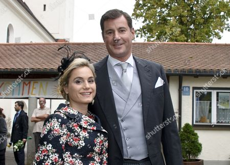 Crown Prince Alexander of Isenburg and His Wife Sarah Arrive at St Joseph's Church For the Wedding of Princess Maria Theresia of Thurn and Taxis and Her Husband Hugo Wilson in Tuzingen Germany 13 September 2014 Germany Tutzing