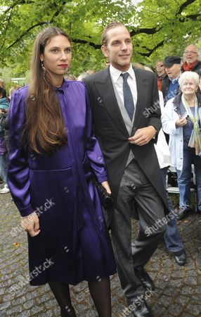 Andrea Casiraghi and His Wife Tatiana Santo Domingo Arrive For the Wedding of Princess Maria Theresia of Thurn and Taxis and Hugo Wilson at St Joseph's Church in Tuzingen Germany 13 September 2014 Germany Tutzing