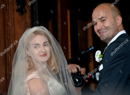Princess Maria Theresia of Thurn and Taxis (l) is Led Into the Church by Her Brother Albert 12th Prince of Thurn and Taxis For Her Wedding Ceremony at St Joseph's Church in Tuzingen Germany 13 September 2014 Germany Tutzing
