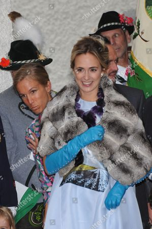 Princess Elisabeth of Thurn and Taxis (front) Smiles After the Wedding Ceremony of Her Sister Princess Maria Theresia of Thurn and Taxis and Her Husband Hugo Wilson at St Joseph's Church in Tuzingen Germany 13 September 2014 Germany Tutzing