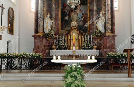 Stock Picture of Floral Decoration is on Display Inside St Joseph Church on the Occasion of the Wedding Ceremony of Princess Maria Theresia of Thurn and Taxis and Her Fiance Hugo Wilson (not Pictured) in Tutzing Germany 13 September 2014 Germany Tutzing