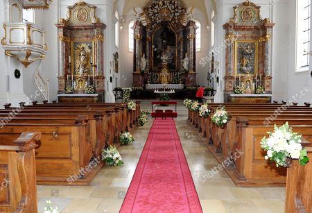 Stock Photo of Floral Decoration is on Display Inside St Joseph Church on the Occasion of the Wedding Ceremony of Princess Maria Theresia of Thurn and Taxis and Her Fiance Hugo Wilson (not Pictured) in Tutzing Germany 13 September 2014 Germany Tutzing