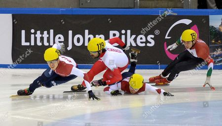 Victor an (2nd From R) of Russia Charles Hamelin (2nd From L) Semen Elistratov (l) of Russia and Shaolin Sandor Liu of Hungary in Action During the Shorttrack World Cup at the Energieverbund Arena in Dresden Germany 07 February 2015 Germany Dresden