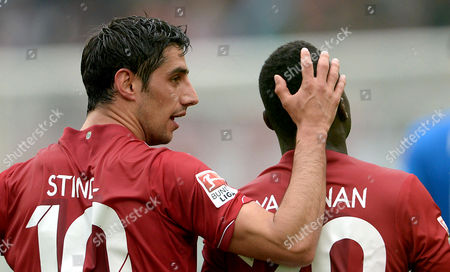 Hanover's Lars Stindl Celebrates His 1-1 Goal with Teammate Didier Ya Konan (r) During the German Bundesliga Soccer Match Between Hannover 96 and 1899 Hoffenheim at the Hdi-arena in Hanover ágermany 25 April 2015 Germany Hanover