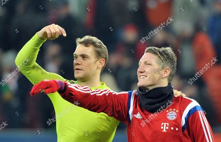 Munich's Goalkeeper Manuel Neuer (l) and Sebastian Schweinsteiger Gesture After the German Bundesliga Soccer Match Between Fc Augsburg and Fc Bayern Munich at Sgl Arena Ináaugsburg Germany 13 December 2014 Augsburg Lost the Game 0-4 (embargo Conditions - Attention: Due to the Accreditation Guidelines the Dfl Only Permits the Publication and Utilisation of Up to 15 Pictures Per Match on the Internet and in Online Media During the Match ) Germany Augsburg
