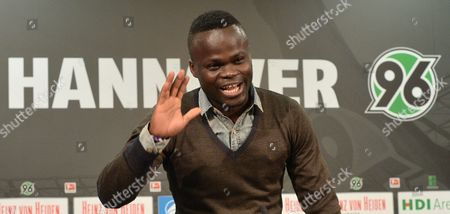 Didier Ya Konan During a Press Conference with German Bundesliga Soccer Team Hannover 96 in Hanover Germany 27 January 2014 Ya Konan is Returning to Hanover 96 Germany Hanover