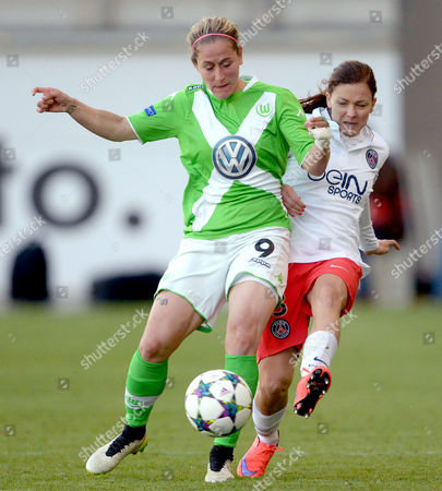 Wolfsburg's Anna Blaesse (l) and Paris St Germain's Laure Boulleau Vie For the Ball During the Uefa Women's Champions League Semi-final First Leg Soccer Match Between Vfl Wolfsburg and Paris St Germain at the Aok Stadium in Wolfsburg Germany 18 April 2015 Germany Wolfsburg