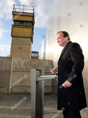 Stock Picture of Swedish Prime Minister Stefan L÷fven Visits the Berlin Wall Memorial at Bernauer Stra?e in Berlin Germany 25 February 2015 Loefven Spends One Day in the German Capital Germany Berlin