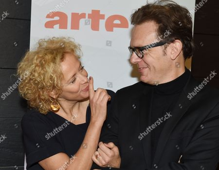 German Actress Katja Riemann (l) and French Director Gabriel Le Bomin Pose During a Press Conference of Franco-german Tvánetwork Arte For the Presentation of the Movies 'Das Gespaltene Dorf' (lit 'The Divided Village') and 'Tag Der Wahrheit' (lit 'Day of the Truth') Which Will Be Aired on 08 and 09 January in Berlin Germany 05 December 2014 Germany Berlin