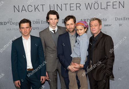 Stock Picture of Actors Florian Stetter (l-r) Sabin Tambrea Peter Schneider Vojta Vomacka and Sylvester Groth Arrive For the Preview of 'Nackt Unter Woelfen' (naked Amongst Wolves) in Berlin Germany 25 March 2015 the Tv Film Will Be Aired on 01 April Germany Berlin