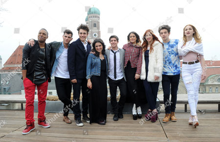 Stock Picture of (l-r) Actors Samuel Nascimento (brazil As Broduey) Diego Dominguez (spain As Diego) Jorge Blanco (mexico As Leon) Alba Rico (spain As Naty) Ruggero Pasquarelli (italy As Frederico) Martina Stoessel (argentina As Violetta) Candelaria Molfese (argentina As Camila) Facundo Gambande (argentina As Maxi) and Mercedes Lambre (argentina As Ludmila) Pose During a Press Event on the Roof of a Hotel in Munich Germany 25 March 2015 the Actors Promoted the New Disney Tv Show 'Violetta' in Germany Germany Munich